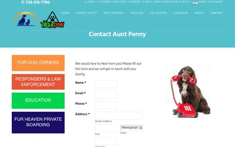 Screenshot of Contact Page myauntpenny.com - Contact Aunt Penny   My Aunt Penny Pet Sitting - captured Nov. 21, 2016