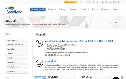 Screenshot of Support Page sandicor.com - Support - Sandicor, Inc. Your Source for MLS Property Data in San Diego County, California - captured Sept. 19, 2014
