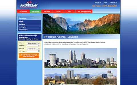 Screenshot of Locations Page ameridream-rv.com - Locations - captured Oct. 27, 2014