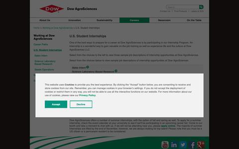 Screenshot of Jobs Page dowagro.com - U.S. Student Internships | Dow AgroSciences - captured Oct. 20, 2018