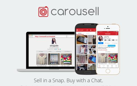 Screenshot of Home Page carousell.co - Carousell - Snap, List, Sell. Create free listings in 30 seconds. - captured July 11, 2014