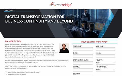 Screenshot of Landing Page everbridge.com - Digital Transformation Business Continuity - captured Sept. 11, 2019