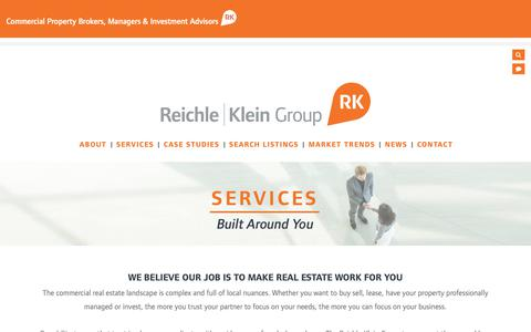 Screenshot of Services Page rkgcommercial.com - Reichle | Klein Group - Services - captured Oct. 23, 2018