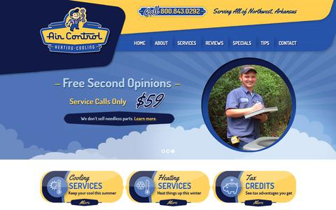 Screenshot of Home Page aircontrolcorp.com - Air Control: Air Conditioning, AC Repair, Heating & Cooling - captured Oct. 3, 2018