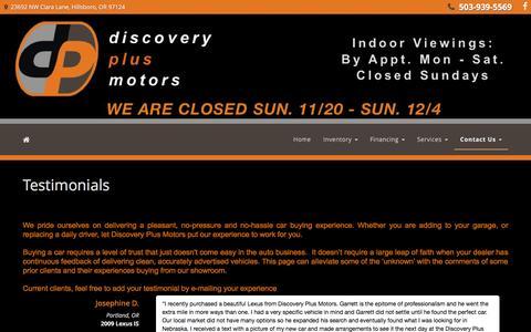 Screenshot of Testimonials Page discoveryplusmotors.com - Discovery Plus Motors - Hillsboro, OR | Testimonials - captured Nov. 24, 2016
