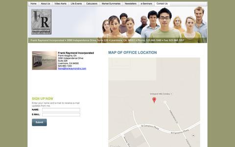 Screenshot of Contact Page frankraymondinc.com - Contact Us - Frank Raymond Incorporated - captured Oct. 6, 2014