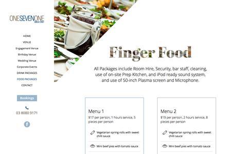 Screenshot of Menu Page onesevenone.com.au - One Seven One - Food Menu - captured Dec. 3, 2016