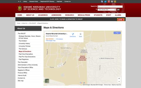 Screenshot of Maps & Directions Page knust.edu.gh - Maps & Directions - Kwame Nkrumah University of Science and Technology - captured Feb. 12, 2016