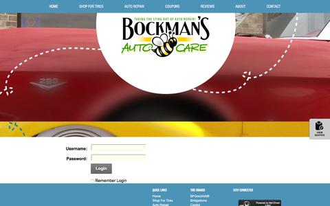 Screenshot of Login Page bockmansautocare.com - User Log In - captured July 29, 2016