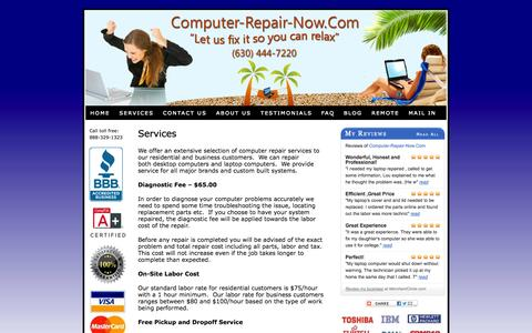 Screenshot of Services Page computer-repair-now.com - Residential and Business Computer Repair Services - captured Oct. 2, 2014