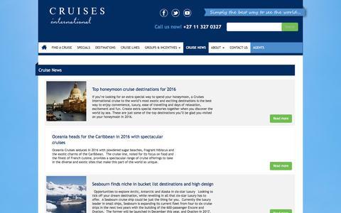 Screenshot of Press Page cruises.co.za - Cruise News | Cruises International - captured Jan. 31, 2016