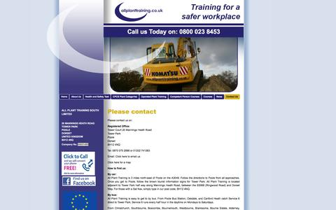Screenshot of Contact Page allplanttraining.co.uk - Contact Us | Plant Machinery Courses | Poole | All Plant Training South Ltd - captured Dec. 24, 2015