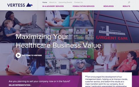 Screenshot of Home Page vertess.com - Maximizing Your Healthcare Business Value | Vertess - captured Oct. 7, 2014