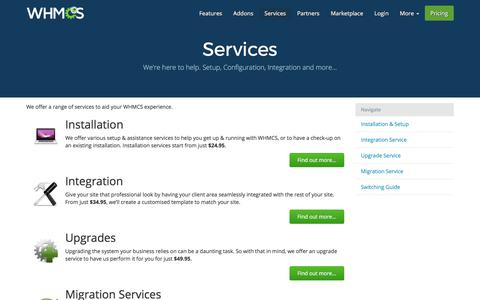 Screenshot of Services Page whmcs.com - Services   WHMCS - captured June 20, 2017
