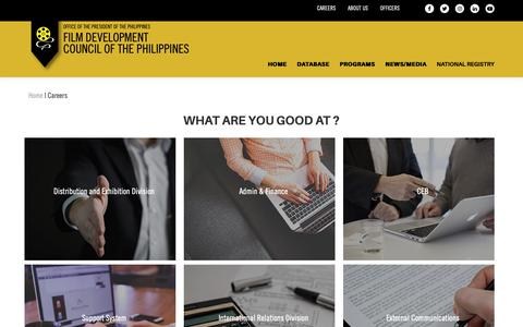 Screenshot of Jobs Page fdcp.ph - Careers   Film Development Council of the Philippines - captured Oct. 10, 2018