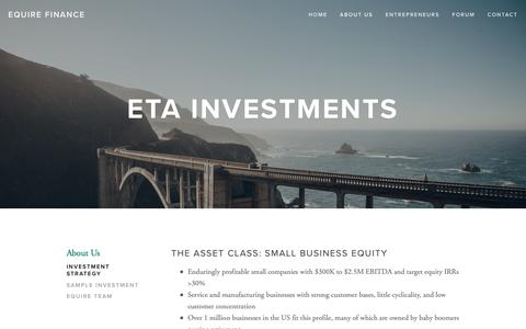 Screenshot of About Page equire.co - Investment Strategy — Equire Finance - captured Nov. 2, 2018