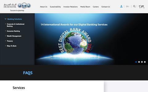 Screenshot of FAQ Page arabbank.com - FAQs - captured Nov. 6, 2018