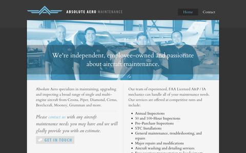 Screenshot of Home Page absolute-aero.com - Absolute Aero Maintenance / Aircraft Maintenance & Repair - captured Oct. 4, 2014