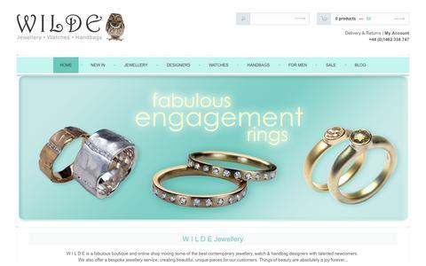 Screenshot of Home Page wildejewellery.com - WILDE Jewellery, Hitchin - Best Contemporary Jewellery and Handbags - captured Sept. 18, 2015