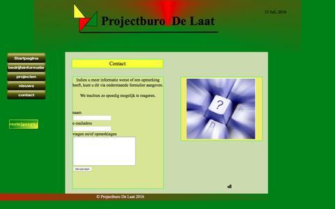Screenshot of Contact Page projectburodelaat.nl - contactformulier - captured July 16, 2016