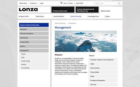 Screenshot of Team Page lonza.com - Management - captured July 17, 2018