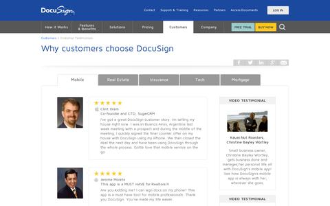 Screenshot of Testimonials Page docusign.com - Customer Testimonials | DocuSign - captured July 20, 2014