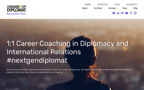 Screenshot of Services Page grassrootdiplomat.org - Diplomatic Career Coaching — Grassroot Diplomat - captured Nov. 5, 2018