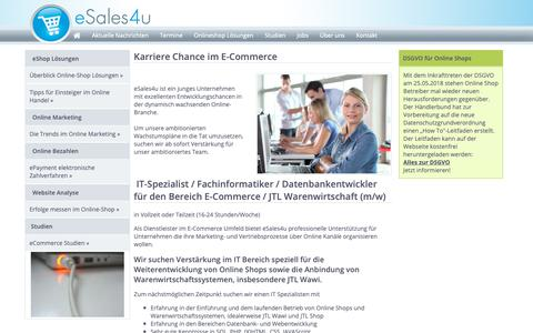 Screenshot of Jobs Page esales4u.de - E-Commerce Jobs Job-Börse Stellenanzeigen E-Commerce Branche - captured Nov. 16, 2018
