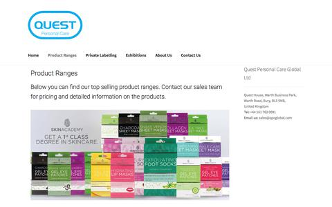 Screenshot of Products Page qpcglobal.com - Our Range Of Personal Care Products - QPC Global - captured Sept. 26, 2018