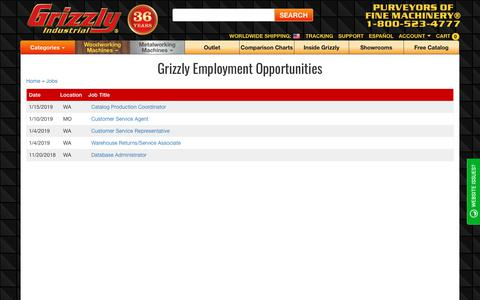 Screenshot of Jobs Page grizzly.com - Grizzly.com -- Current Employment Positions Available - captured Jan. 20, 2019