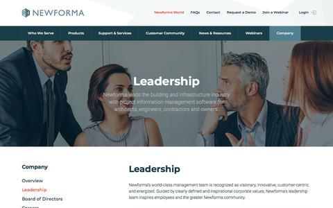 Screenshot of Team Page newforma.com - Newforma Leadership Team - captured April 27, 2018