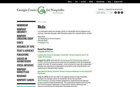 Screenshot of Press Page gcn.org - Media   The Georgia Center For Nonprofits - captured Sept. 28, 2018