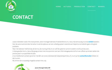 Screenshot of Contact Page jouwenergie.eu - Contact – jouw Energie - captured Sept. 20, 2018