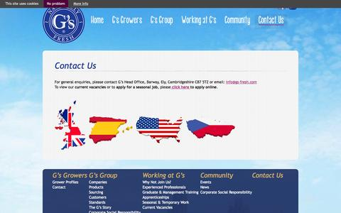Screenshot of Contact Page gs-fresh.com - G's Global |   Contact Us - captured Oct. 1, 2014