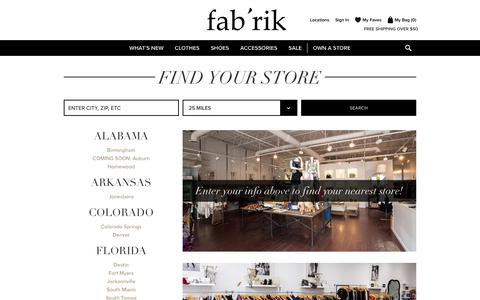 Screenshot of Locations Page fabrikstyle.com - fab'rik Locations: Find a fab'rik Store Near You - captured Oct. 14, 2017