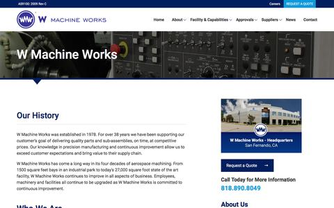 Screenshot of About Page wmwcnc.com - W Machine Works - captured Dec. 2, 2016