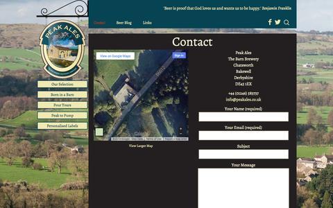Screenshot of Contact Page peakales.co.uk - Contact   Peak Ales - captured Oct. 28, 2014