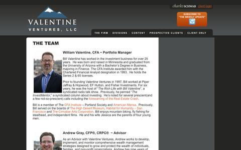 Screenshot of Team Page valentineventures.com - The Team - ValentineVentures - captured Feb. 26, 2016