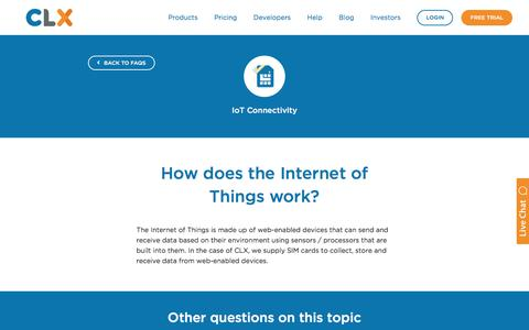 Screenshot of FAQ Page clxcommunications.com - How does the Internet of Things work? - CLX - captured Dec. 12, 2017