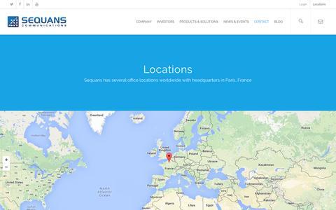 Screenshot of Locations Page sequans.com - Locations - SEQUANS - captured Feb. 17, 2016