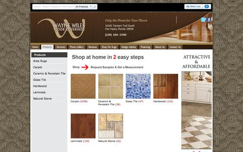 Screenshot of Products Page waynewiles.com - Products | Wayne Wiles Floor Coverings - captured Oct. 26, 2014