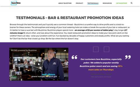 Screenshot of Developers Page Testimonials Page buzztime.com - Our Clients | Restaurant Promotion Ideas | Testimonials | Buzztime - captured July 3, 2017