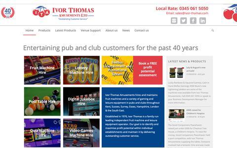 Screenshot of Home Page ivor-thomas.com - Ivor Thomas Amusements | Fruit Machine, Jukebox and Pool Table Hire - captured Oct. 12, 2018