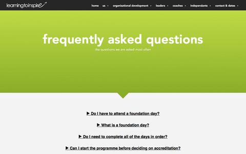 Screenshot of FAQ Page learningtoinspire.co.uk - Frequently Asked Questions | Learning to Inspire - captured Dec. 8, 2015