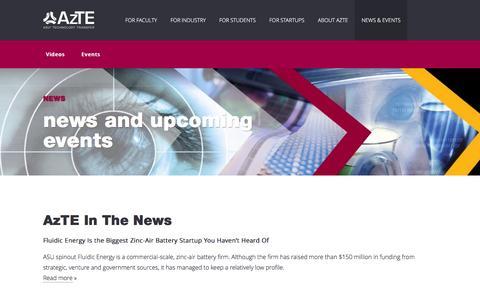 Screenshot of Press Page azte.com - News & Events | Technology Enterprises (AzTE) - captured Feb. 6, 2016