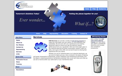 Screenshot of Services Page pdmsvc.com - PdM Services - Services - captured Oct. 2, 2014