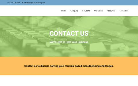 Screenshot of Contact Page vicinitymanufacturing.com - Contact Us - Vicinity Manufacturing - captured Oct. 20, 2018