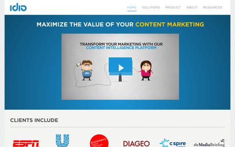 Screenshot of Home Page idioplatform.com - idio: Maximize the value of your Content Marketing - captured July 11, 2014