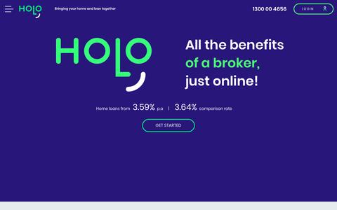 Screenshot of Home Page Menu Page holo.com.au - Holo - Home loans and refinancing Australia-wide. No mortgage broker required. Fast online application. - captured Sept. 29, 2018
