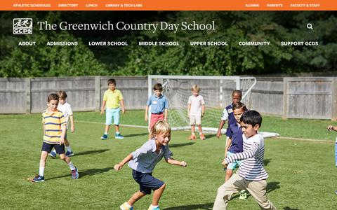 Screenshot of Home Page gcds.net - Greenwich Country Day - Home - captured Sept. 30, 2018